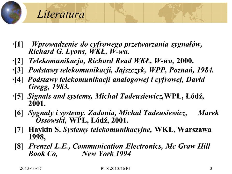 Literatura ·[1] Wprowadzenie do cyfrowego przetwarzania sygnałów, Richard G. Lyons, WKŁ, W-wa.